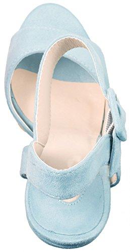 Elara Damen Pumps   Moderne Cut Out Stilettos   Wildlederoptik High Heels Blau Paris