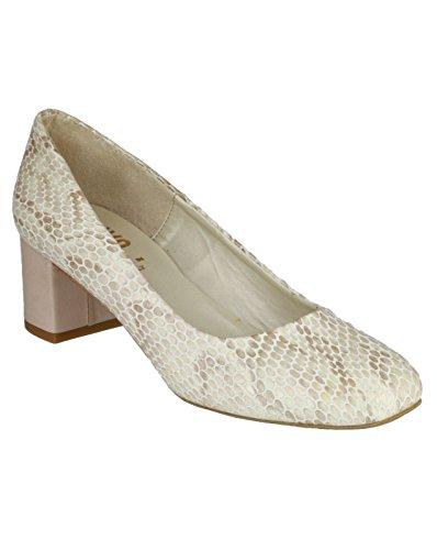 Riva Burrow Snake Ladies Court Shoe Natural -