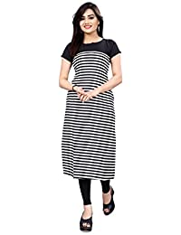 New Ethnic 4 You Woman's Straight Cut Digital Printed Crepe Kurti