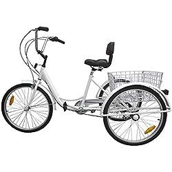 """Ridgeyard triciclo adulto 24 """"6 velocidades bicicleta 3 ruedas adulto con Cesta de la compra - blanco"""
