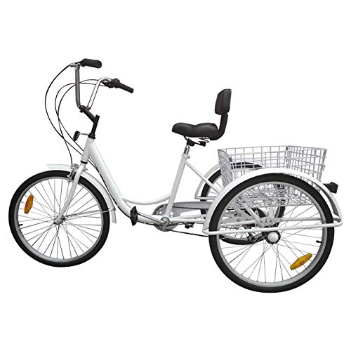 "Ridgeyard Tricycle Adulte 24"" 3 Roues 6 Vitesse Velo Tricycle Adulte Bicycle Trike Cruise avec Basket (Blanc)"