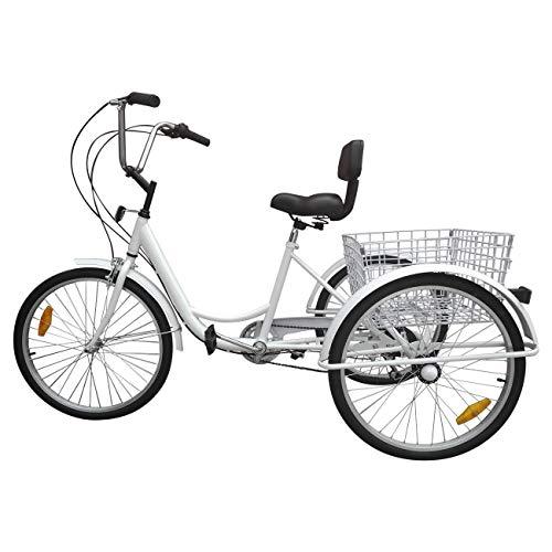 elektro dreirad erwachsene Ridgeyard Dreirad Für Erwachsene 24 Zoll 6 Geschwindigkeit 3 Rad Fahrrad Dreirad Pedal mit Warenkorb (Weiß)