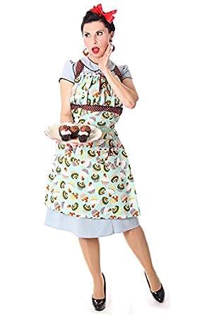 Savina 50er retro Muffin Cupcake Latz Rockabilly vintage style Kochschürze Schürze v. SugarShock, Größe:onesize;Farbe:türkis