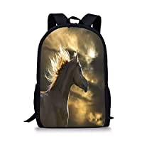 School Bags Horse Decor,Chestnut Horse Profile on Dramatic Cloudy Sunset Sky Strong Wild Young Mammal Decorative,Brown Yellow for Boys&Girls Mens Sport Daypack