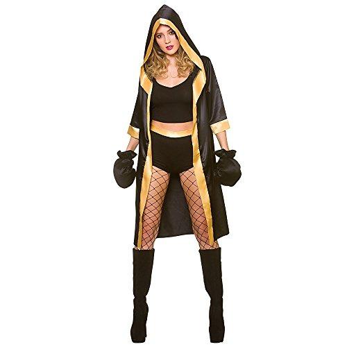 Unbekannt Erwachsene Frau Schwarz/Gold Sexy Knockout Boxer Kostüm (Groß)