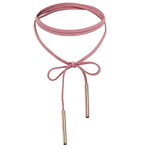 Epinki Damen Choker, Halskette Samtband Langkette Bow-knot Form Anhänger Tattoo Samtkropfband Gothic Halsband 136CM Gold Rose