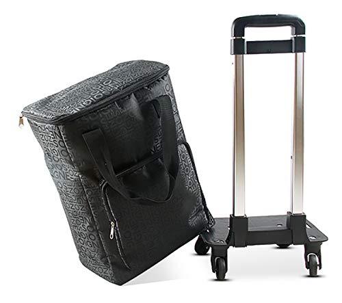 YGUOZ Klappbar Einkaufswagen, Shopping Trolley Reisenthel Trolley mit 4 Räder, Einkaufstrolley Leichtem mit Abnehmbarer Tasche (30L),Black