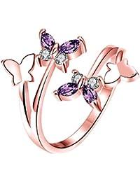 YAZILIND joyería brillante de la mariposa abierta anillo púrpura zirconia Rose chapado en oro anillos ajustables para mujeres tamaño 16,5