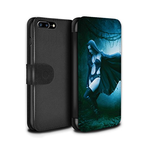 Officiel Elena Dudina Coque/Etui/Housse Cuir PU Case/Cover pour Apple iPhone 7 Plus / Somnambule/Insomnie Design / Magie Noire Collection Vent/Orage/Forêt