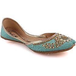 Unze Neue Frauen Traditional 'Charoite' Handgefertigte verschönert Leder flache indische Khussa Pumpe Hausschuhe Schuhe Größe 3-8 - UN-19