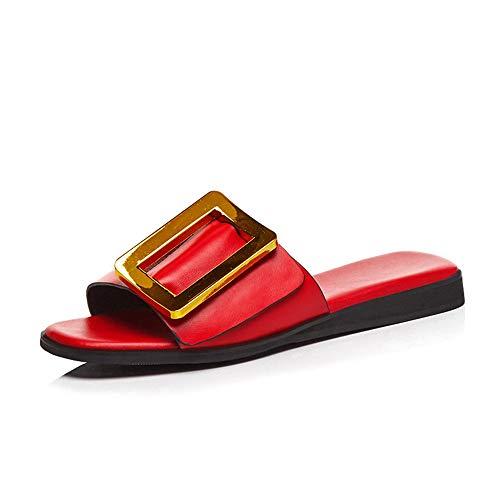 MENGLTX High Heels Sandalen Neue Echtes Leder Frauen Sandalen Schlüpfen Mit Schnalle Sommer Casual Damen Flache Sandalen Mode Mules Schuhe 10 Rot Damen Mode-mule