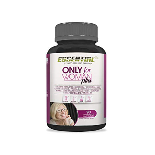 ONLY FOR WOMAN PLUS - Colágeno Hidrolizado Puro + Magnesio + Ácido Hialurónico + Condroitina + Coenzima Q10 + Vitamina D3 + Calcio + Glucosamina + Harpagofito - Producto del Año - 90 comp