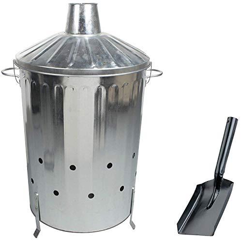 Incinérateur CrazyGadget - En métal galvanisé - Ultra large - 125litres - Avec couvercle de verrouillage spécial et pelle à cendre