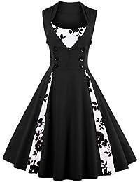 VERNASSA Kleid Damen 50er 60er Jahre, Vintage Ärmellos Retro Elegant  Abschlussball Tupfen Baumwolle Swing Kleid für Rockabilly Abend Party… 7a10ec04ec