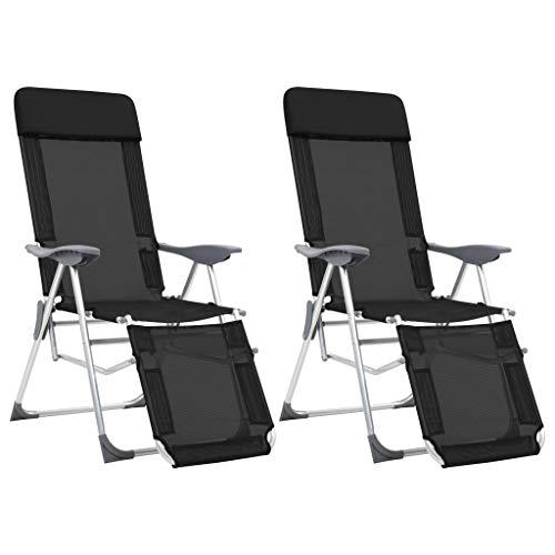 vidaXL 2X Chaise Camping Pliable Repose-Pied Noir Aluminium Fauteuil Jardin