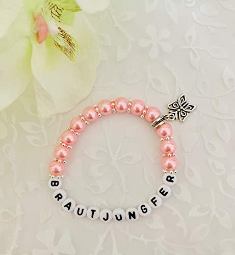 Handgemachtes Armband Brautjungfer aus Perlen, Geschenk zur Hochzeit rosa
