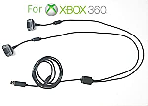 2in1 2M Long USB Play and Charge Charging Lead Cable for Xbox 360 Controller Pad Gamepad Joypad Joystick By AirBot