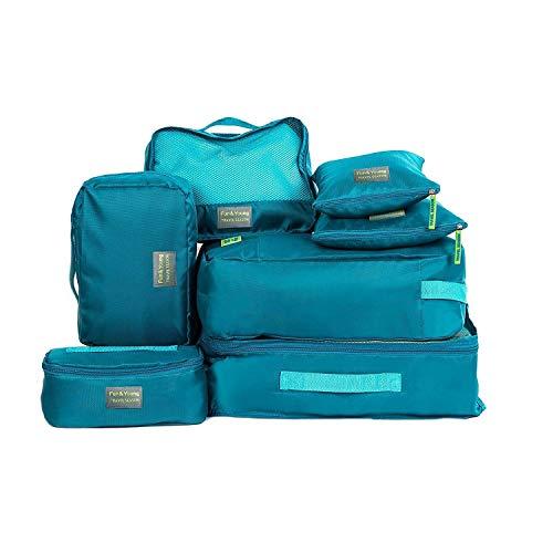 Pulchram Pulchram 7 Stück Kleidertaschen Kofferorganizer Packtaschen Packing Cubes Packwürfel mit Wäschebeutel,Handgepäck und Seesäcke Ideal für Reise (blau)