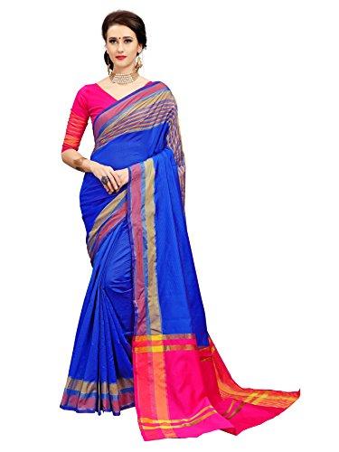 Glory Sarees Women's Cotton Silk Handloom Saree(jari126_blue_pink)