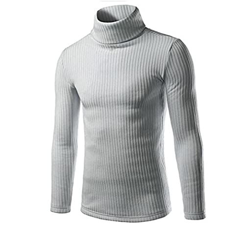 Kolylong Man's Fashion classic Casual High-collar Sweaters Tops (XL, Gray)