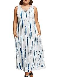 Sommerkleid Damen Beiläufiges Armelloses Kleid TUDUZ Lose StrandKleid Große  Größe ... e6235c6af5