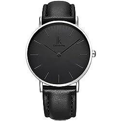 Alienwork IK Quarz Armbanduhr elegant Quarzuhr Uhr modisch Zeitloses Design klassisch schwarz Leder 98469G-01
