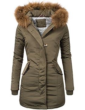 Peak Time 1602Parka de Mujer para invierno con pelo auténtico y capucha