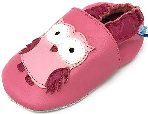 MiniFeet, Chaussures Bébé en cuir Souple - Chaussons Bébé - Chaussures Premiers Pas - 0-6, 6-12, 12-18, 18-24 Mois et 2-3, 3-4 Ans Hibou Rose