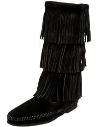 MINNETONKA - 3-layer Fringe Boot - Noir