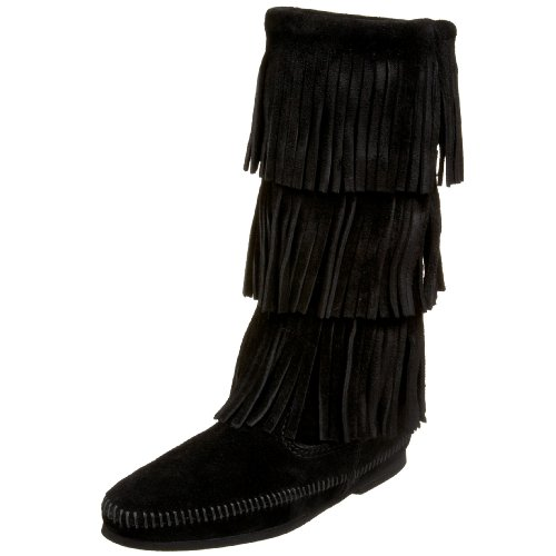 Minnetonka - 3-Layer Fringe Boot, Stivali E Stivaletti, Donna Nero (Black)