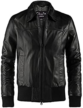 The Deal Black Bomber Leather Jacket - Leather Jackets Mens Casual - Charlie LONDON