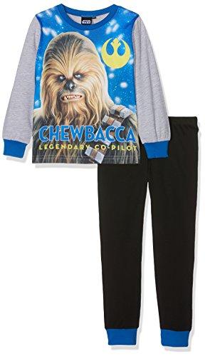 Aykroyd's Jungen Boys Chewbacca Pj Zweiteiliger Schlafanzug, Multicoloured (Grey Marl/Black/Royal), 7-8 Jahre (erPack 2
