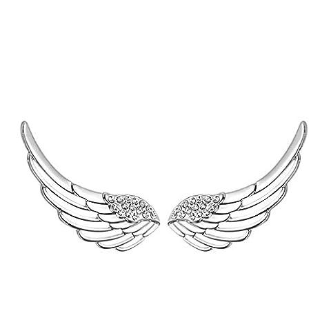 Sewanz Women's Sterling Silver Crystal Angel Wings Ear Wrap, Sweep Cuff Hook EarringsEar Clips