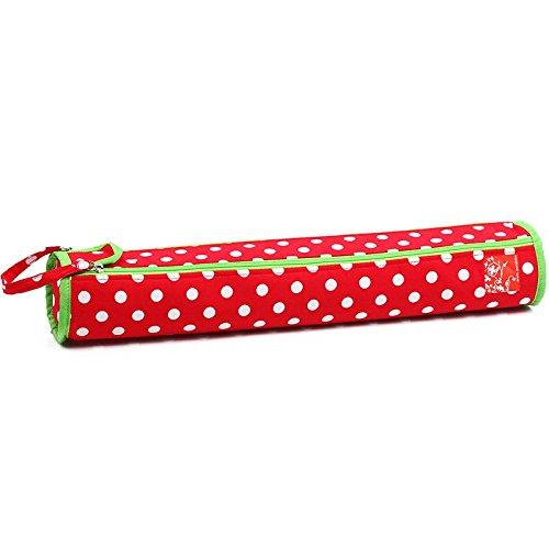 Prym Polka Dot Rund Stricknadel-Aufbewahrungstasche mit Reißverschluss mit Lime Grün Trim, Polyester, Rot/Weiß Rot Polka Dot Polyester