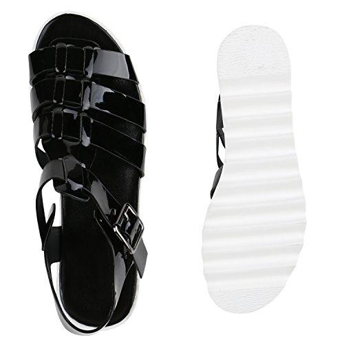 Funky Damen Plateau Sandaletten Lack Metallic Schuhe Profilsohle Schwarz
