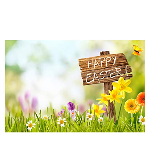 Yivise Semana Santa Día de Pascua Tema Vinilo Fotografía Telón de Fondo Fondo de Foto Personalizado Accesorios(H)