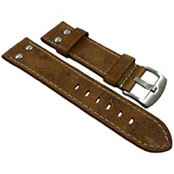 18mm Calf leather watch strap band in vintage-look with rivets in brown with buckle in silver