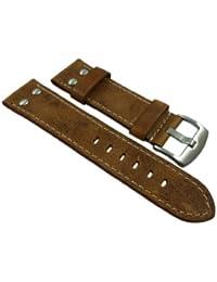 18mm Cuero de becerro pulsera de reloj en vintage-look con remaches en marrón con hebilla en plata