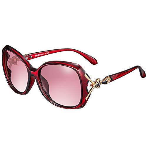 rezi Polarisierte Sonnenbrille, Pilotenbrille Damen Herren, UV400 Schutzlinse, Vintage Square und Fliegerrahmen für Tourismus/Freizeit/Sport, 9 Farben (Fuchs Rot)