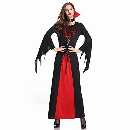 CN Halloween Kostüm Vampir Hexe Kleid Langen Rock Kostüm Gothic Hexe Kostüm Schwarz Temperament Göttin Königin,Schwarz,M (Langen Schwarzen Vampir-kleid)