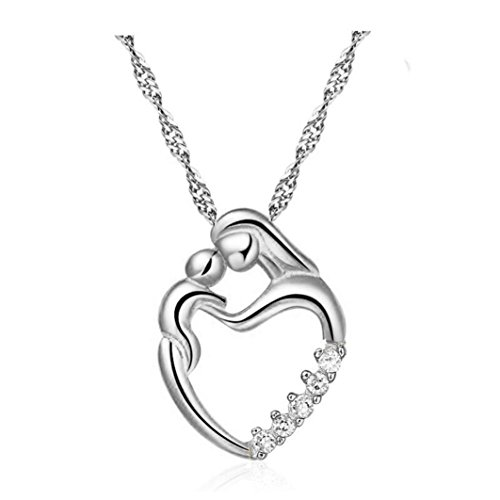 Zolimx Muttertags Geschenke Mosaik Zirkon Schmuck Halskette (Silber)