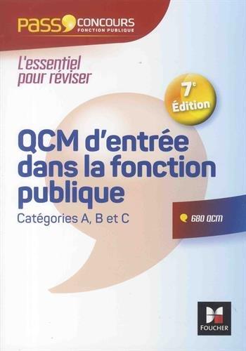 Pass'Concours - QCM d'entrée dans la fonction publique - 7e édition - Révision et entrainement par François Chevalier