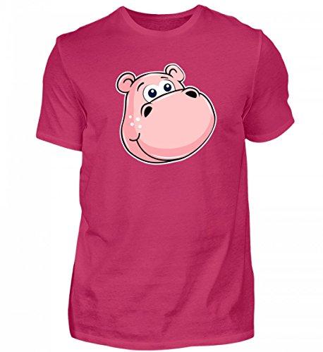 (Hochwertiges Herren Shirt - Rosa Nilpferd mit Grossen Augen - Zoo Hippo Tierbaby Flusspferd Streichelzoo Kuscheltier)