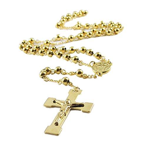 Colgante Collar - TOOGOO(R) Acero Inoxidable Colgante Collar Oro Dorado Virgen Maria Jesus Cristo Crucifijo Cruzar Cruz Bola Bead Rosario Vendimia Vintage Retro 70cm Cadena Hombre,Mujer ,Cadena