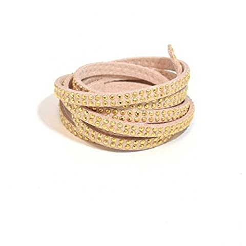 1m Nude Beige Suede Studded 2Rows 5x2mm with Rhinestones 2rangs- Faux Suede Cord–Sold by the Metre