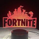 Fortnite Game Logo 3D llevó la luz de la lámpara Rgbw Lámpara de estado de ánimo cambiante 7 colores Base de luz Luz de la noche fresca para cumpleaños Regalo de vacaciones