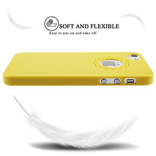 iPhone SE Hülle, iPhone 5S Hülle, SpiritSun Transparent Schutzhülle für Apple iPhone SE / 5 / 5S PC Hart Handyhülle Extrem Dünne Bumper Cover mit Stylus Pen - Rot Gelb