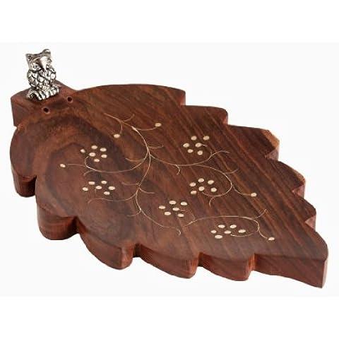Natale Regali del Ringraziamento bastone di incenso bruciatore di supporto di legno Foglia decorazione a forma di Ornata con Owl Scultura