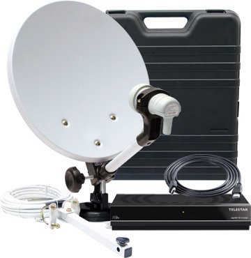 Telestar HDTV SAT Camping-Satellite-Anlage mit digiHD TS 4 mobil (35 cm Spiegel, Single-HC-LNB, Halterungen, HD Receiver, Antennenkabel, Kompass) schwarz
