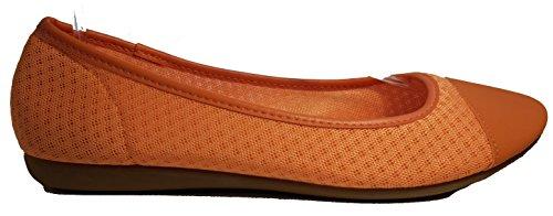 Ballerines, élégant et chique, orange, vert, rouge, blanc, noir, bleu, beige, argenté, turqoise, rouge-blanc, noir-blanc, chaussures femme, modèle 11064101072436, mocassins. Orange.